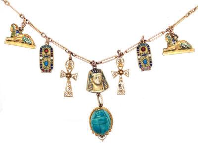 Art Deco 9ct Gold & Enamel Egyptian Revival Necklace