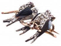 Edwardian Rose Diamond & Onyx Swallows Novelty Brooch