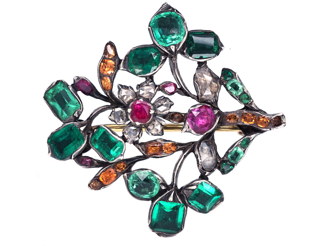 Georgian Emerald, Ruby, Diamond & Topaz Giardinetti Brooch