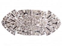 Art Deco Silver & Paste Double Clip Brooch