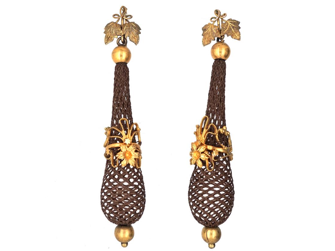 Regency 15ct Gold & Woven Hair Drop Earrings
