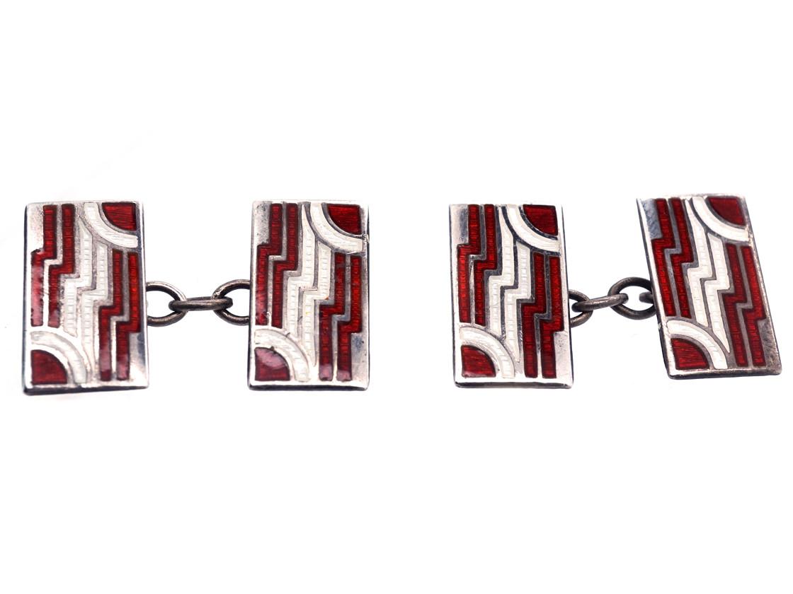 Art Deco Silver, Red & White Enamel Rectangular Cufflinks