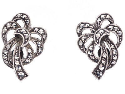 Silver & Marcasite Clip On Bow Earrings
