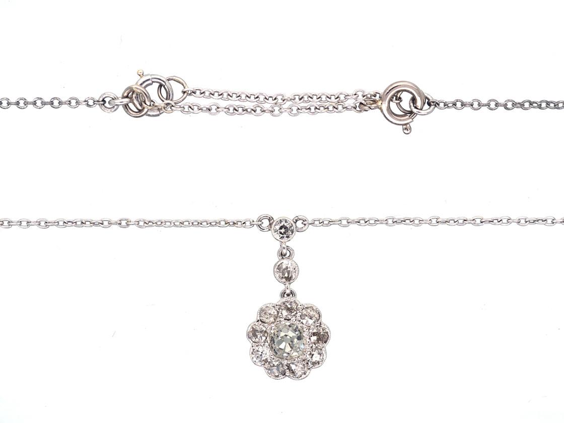 Edwardian Diamond & Platinum Cluster Drop Pendant on Chain
