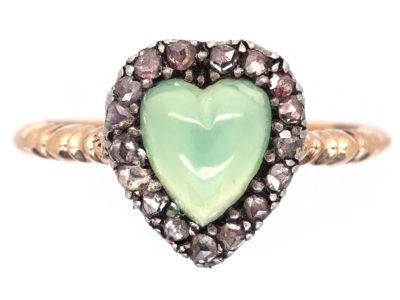 Edwardian Rose Diamond & Green Chalcedony Heart Shaped Ring