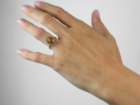 18ct Gold & Platinum Water Opal & Diamond Oval Cluster Ring
