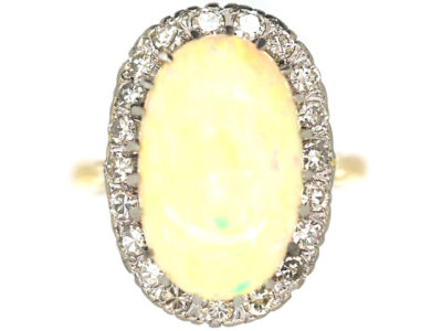 Large Opal & Diamond 18ct Gold Oval Ring