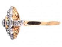 Edwardian 18ct Gold, Platinum, Diamond & Sapphire Cluster Ring