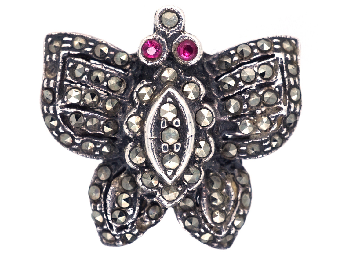 Silver & Marcasite Butterfly Ring