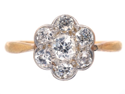 Edwardian 18ct Gold, Platinum & Diamond Cluster Ring