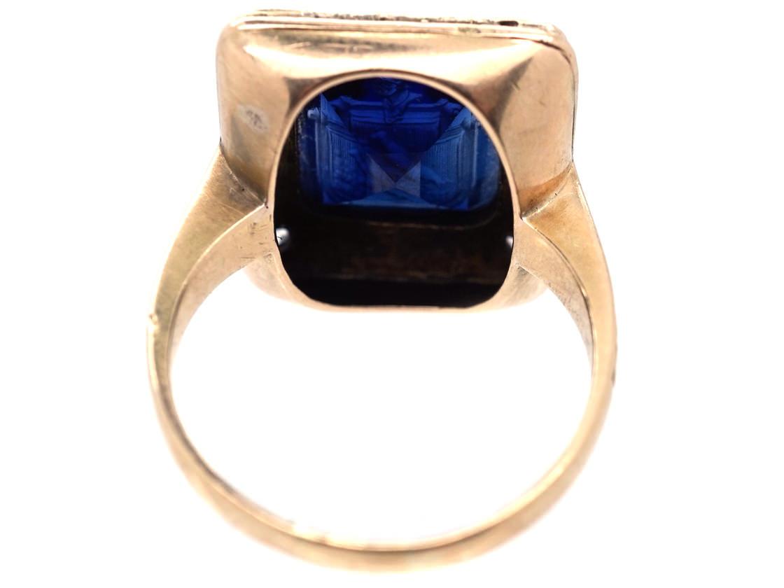 Art Deco 18ct Gold, Platinum, Rose Diamond & Synthetic Sapphire Crested Intaglio Ring