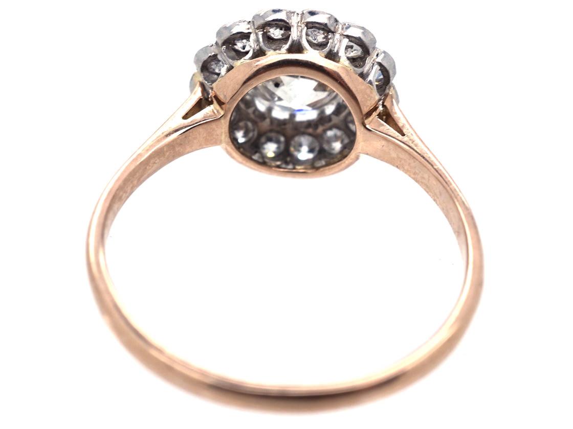 Edwardian 18ct Gold, Platinum & Diamond Daisy Cluster Ring