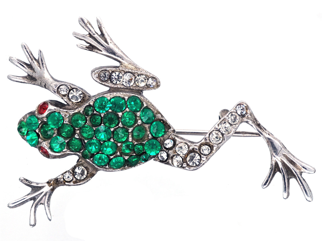 Silver & Paste Lively Frog Brooch