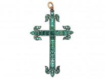 Large Georgian Silver Gilt & Emerald Cross Pendant