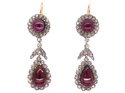 Cabochon Garnet & Rose Diamond Drop Earrings