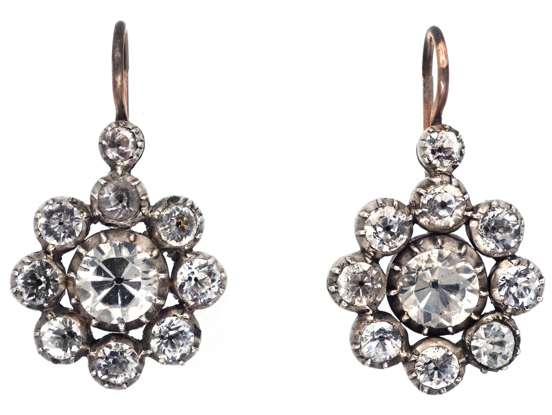 Georgian Silver & Gold Paste Cluster Earrings