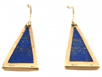 18ct Gold & Lapis Triangle Earrings