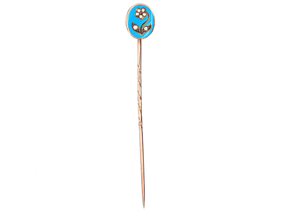 Georgian Forget Me Not 15ct Gold, Blue Enamel & Natural Split Pearls Tie Pin