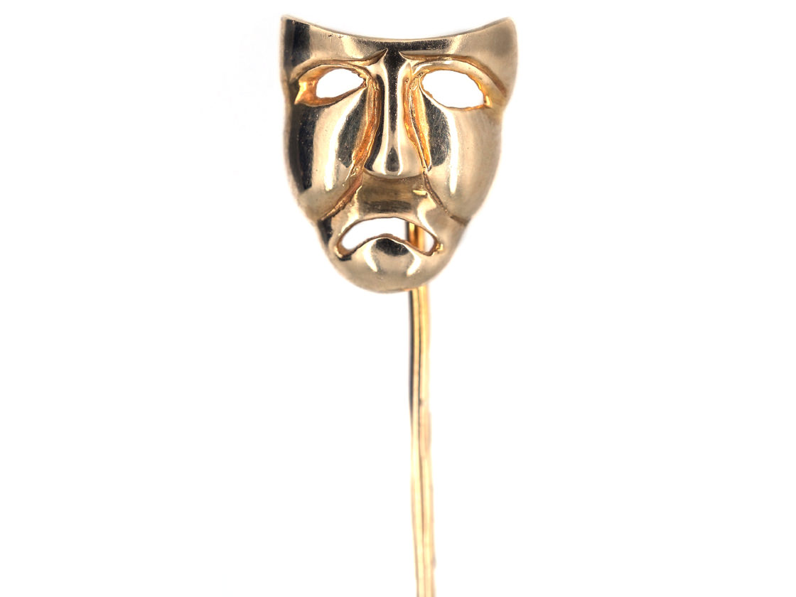 Edwardian 15ct Gold Tragedy Tie Pin