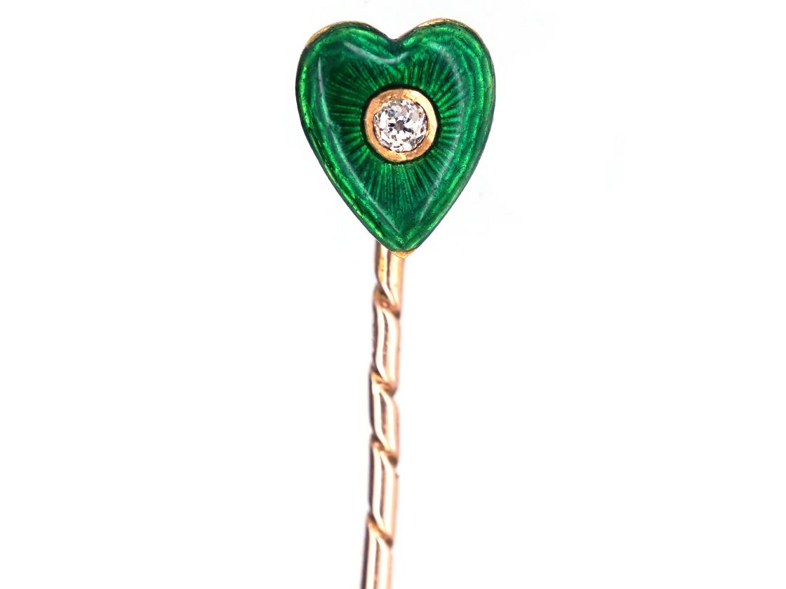Edwardian 15ct Gold Heart Shaped Green Enamal & Diamond TiePin