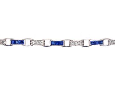 Art Deco Platinum, Sapphire & Diamond Bracelet by Waslikoff