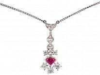 Art Deco Ruby & Diamond Pendant on Chain