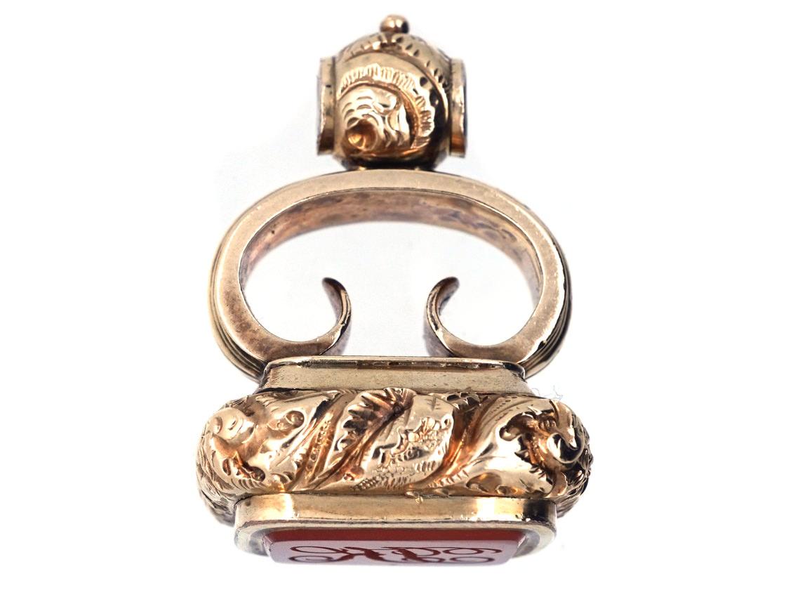 Georgian Gold Cased & Carnelian Seal with Monogram Base