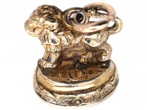 Victorian Gold Cased Lion Seal with Carnelian Base