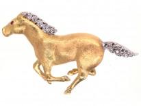 18ct Gold & Diamond Galloping Horse Brooch