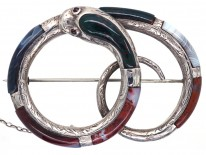 Victorian Scottish Silver & Agate Coiled Snake Brooch
