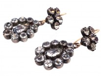 Georgian Paste Set Cluster & Pear Shaped Drop Earrings