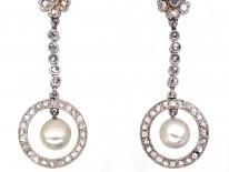 Edwardian Rose Diamond & Natural Pearl Drop Earrings