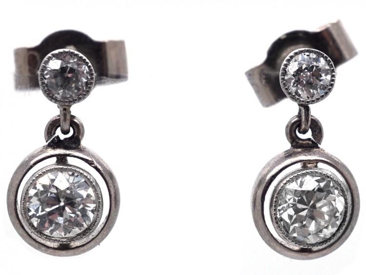 Art Deco Two Stone Diamond Drop Earrings