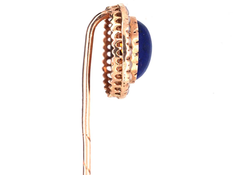 Edwardian 15ct Gold , Lapis Lazuli & Natural Split Pearls Tie Pin
