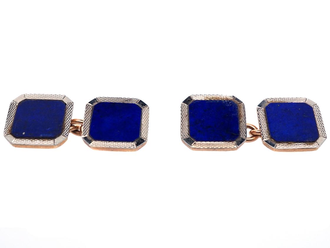 Art Deco 9ct & 18ct Gold, Lapis Lazuli Cufflinks