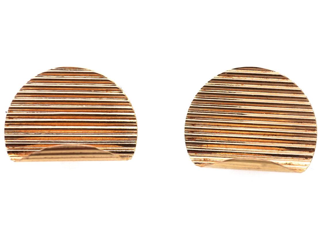 9ct Gold Stripe & Curve Earrings