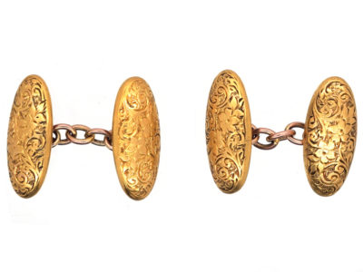 Victorian 15ct Gold Engraved Oval Cufflinks