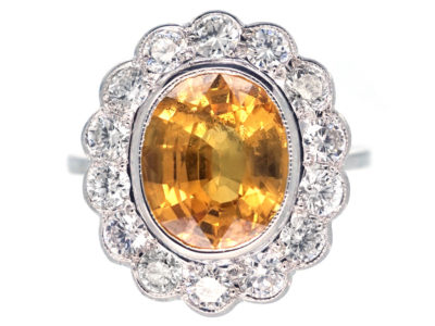 18ct White Gold Yellow Sapphire & Diamond Cluster Ring