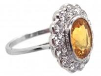 18ct White Gold Yellow Sapphire & Diamond Cluster Ring