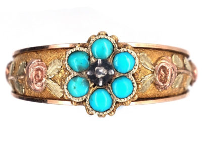 Georgian 18ct Three Colour Gold Forget Me Not Ring