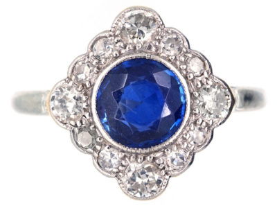 Edwardian Sapphire & Diamond Diamond Shaped Cluster Ring