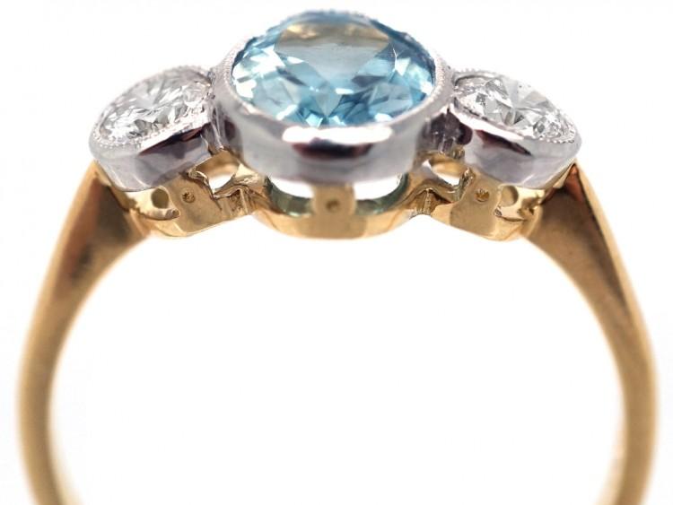 18ct Yellow & White Gold, Aquamarine & Diamond Three Stone Ring