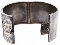 Victorian Wide Silver & Gold Overlay Bangle with Initial E on the back