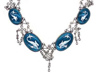 Arts & Crafts Silver & Enamel Necklace with Stylised Fish Design
