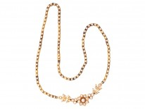 Victorian 18ct Gold & Natural Split Pearl Necklace in Original Case