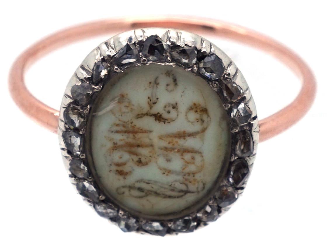 Georgian Gold & Rose Diamond Mourning Ring With Two Monograms