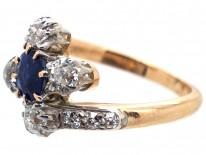 Edwardian 18ct Gold, Diamond & Sapphire Crossover Ring