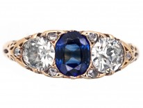 Victorian 18ct Gold Sapphire & Diamond Carved Half Hoop Ring