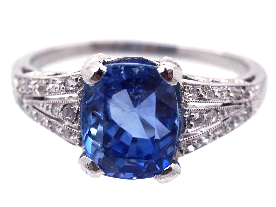 French Platinum, Ceylon Sapphire & Diamond Art Deco Ring