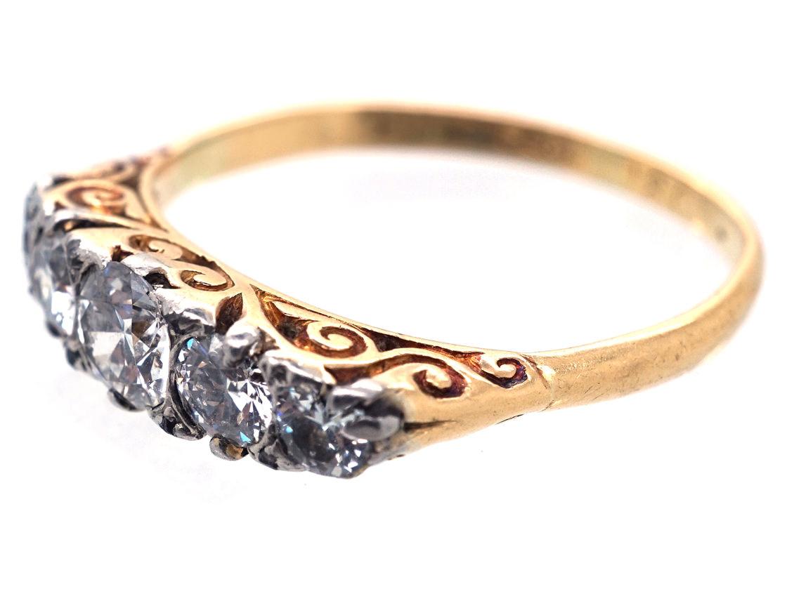 Edwardian 18ct Gold,Platinum & Diamond Carved Half Hoop Ring